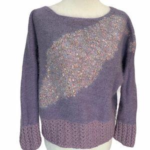 Vintage Hand Knit Mauve Mohair Sweater S/M